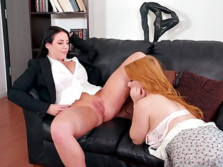 Milf eats and fingers a beautiful redheaded bush