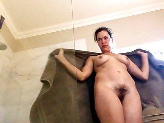 Pretty brunette girl shower & upskirt spycam